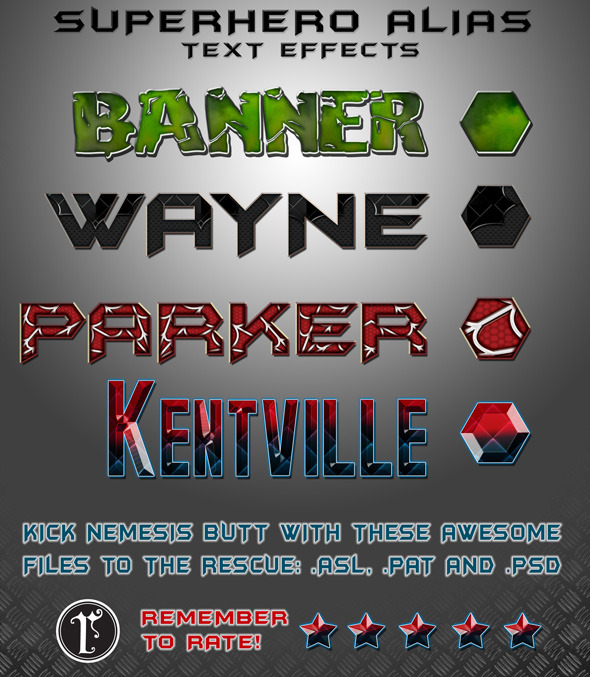 SUPER HERO text styles