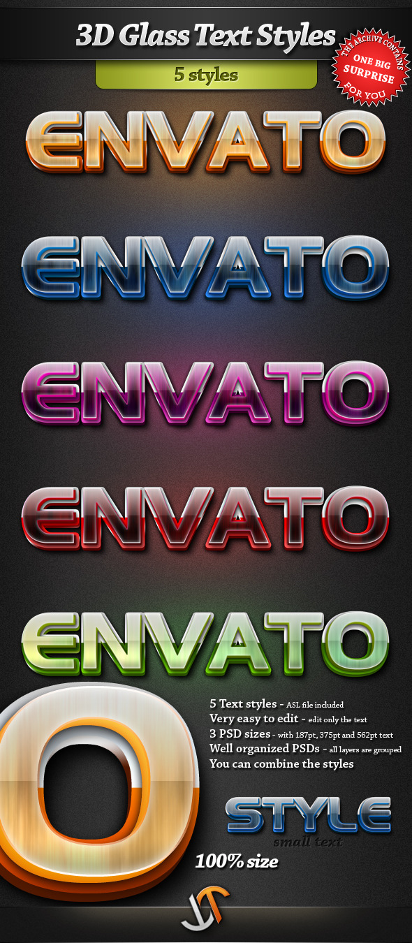 3D Glass Text Styles