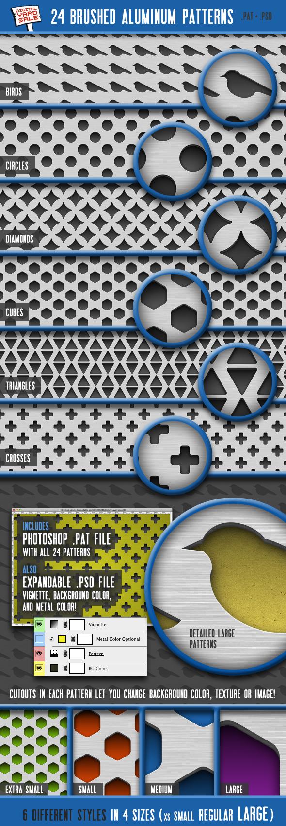24 Brushed Aluminum Patterns - Techno / Futuristic Textures / Fills / Patterns