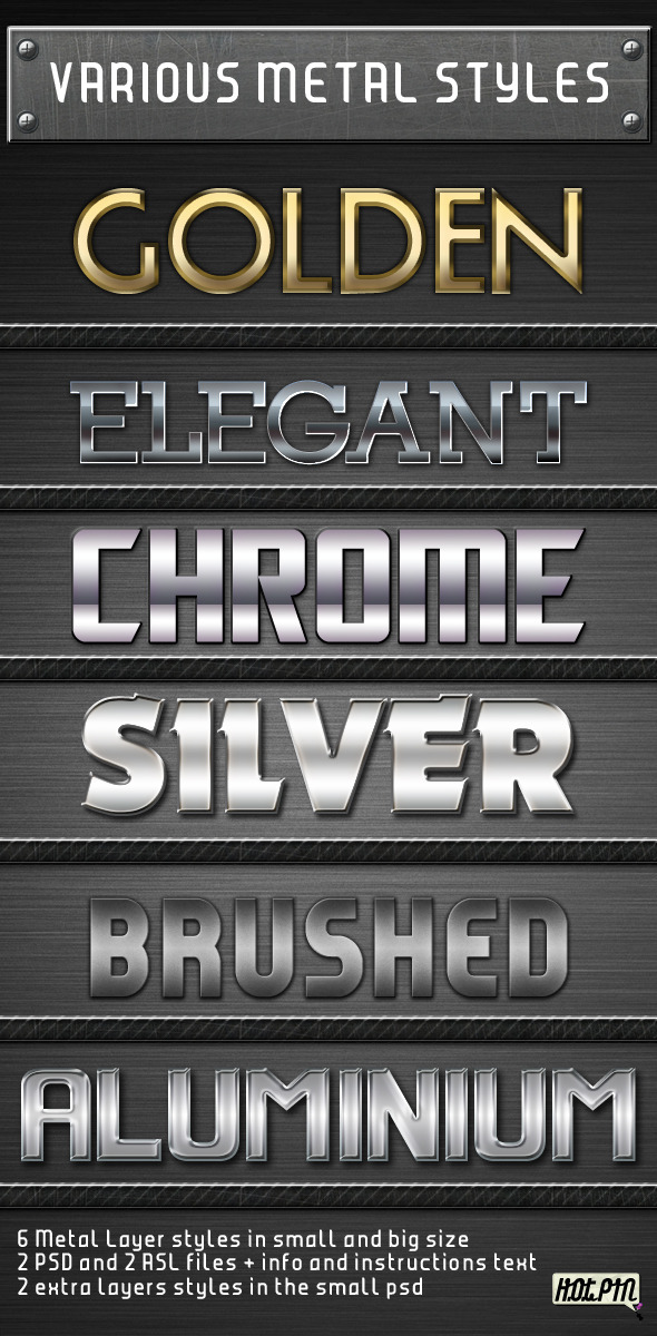 Various Metal Layers Styles - Text Effects Styles