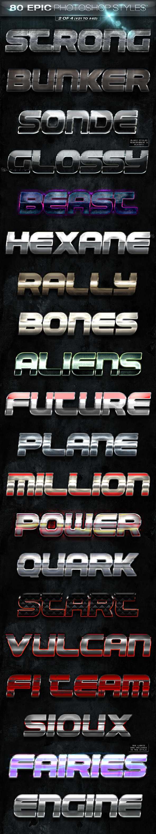 80 EPIC Photoshop Styles 2 of 4 - Text Effects Styles