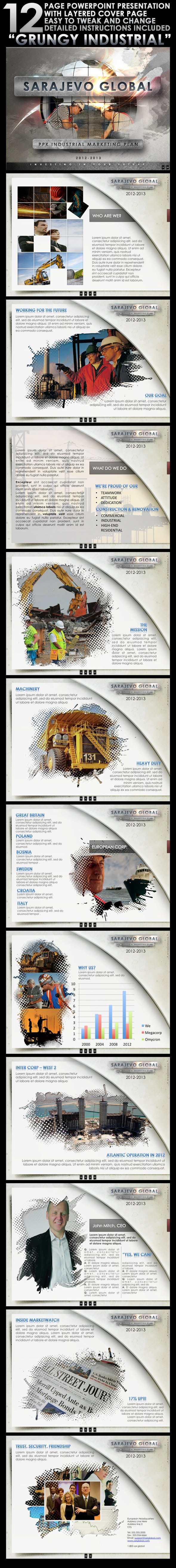 "Powerpoint Presentation ""Grungy Industrial"" - PowerPoint Templates Presentation Templates"