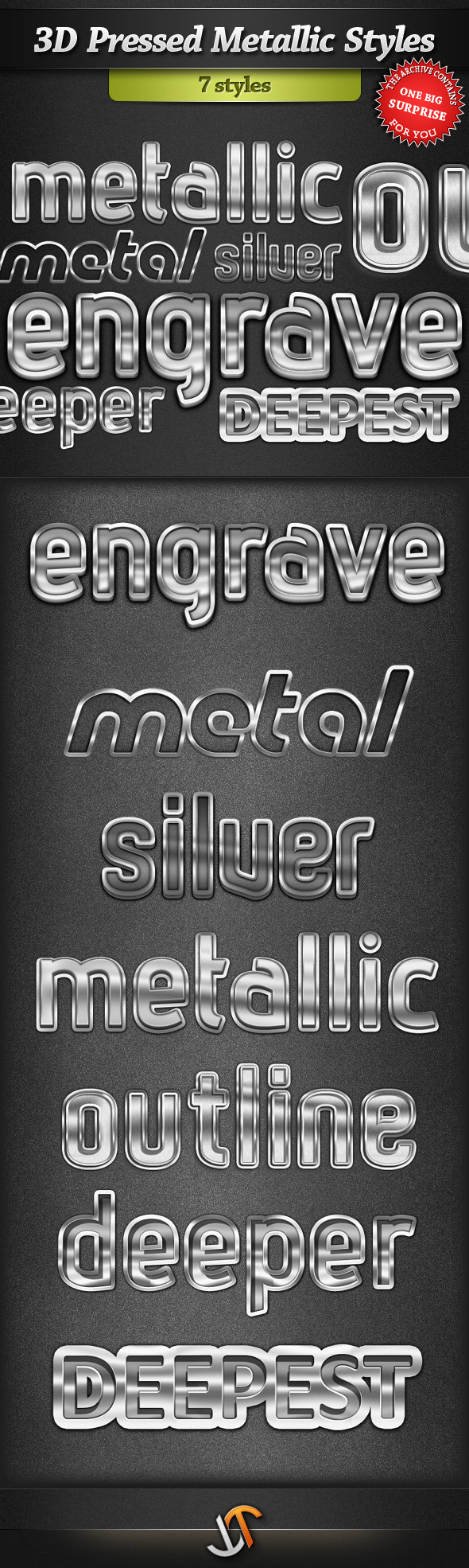 3D Pressed Metallic Text Styles - Text Effects Styles