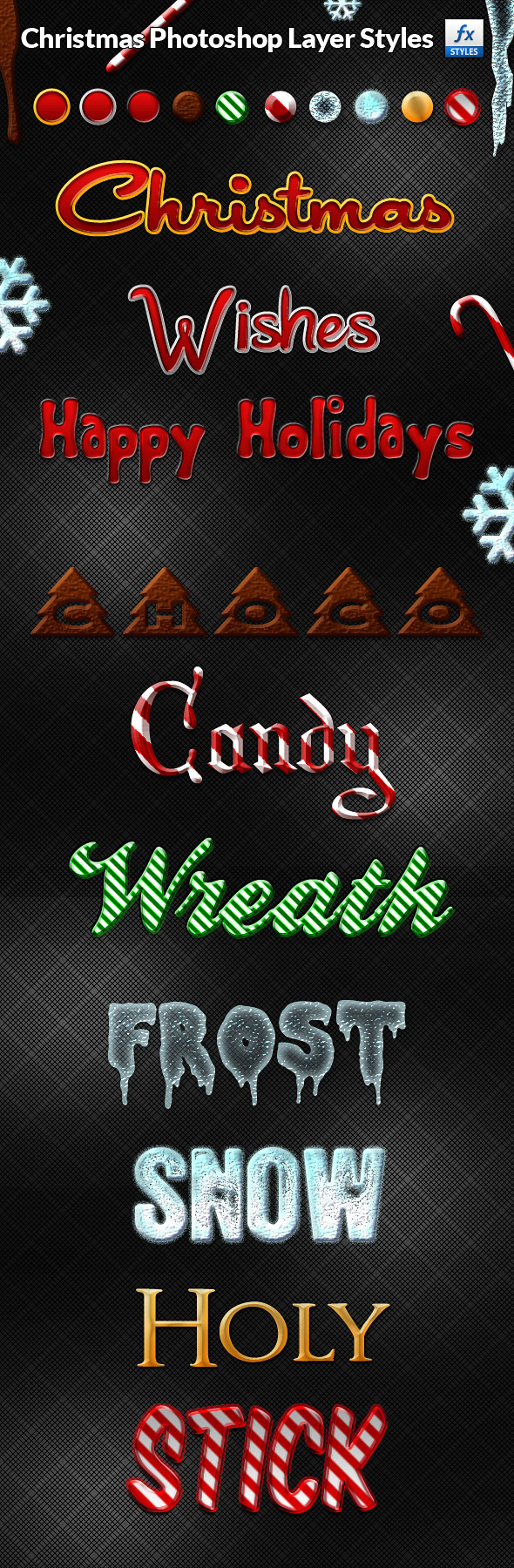 Christmas Photoshop Layer Styles Pack - Text Effects Styles
