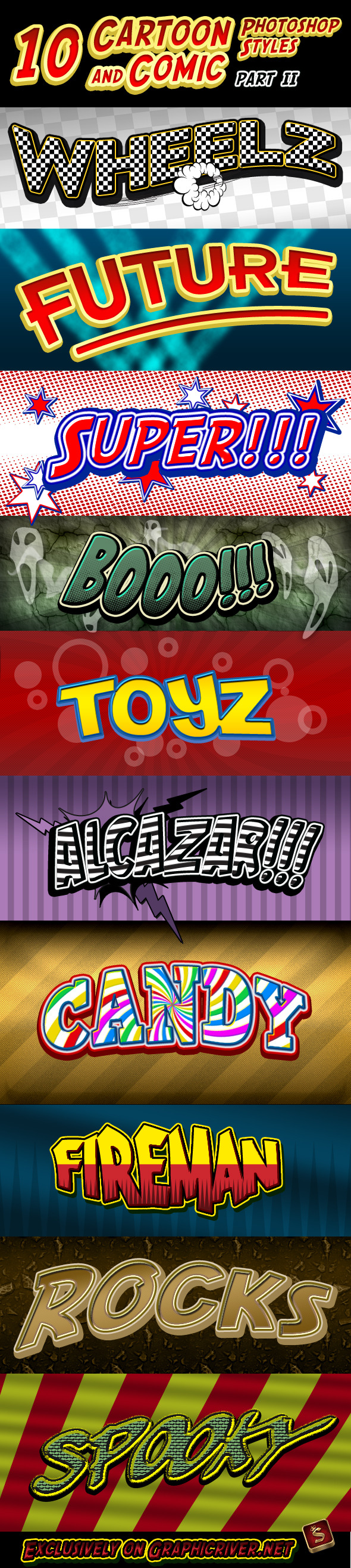 Cartoon and Comic Book Styles - Part 2 - Text Effects Styles
