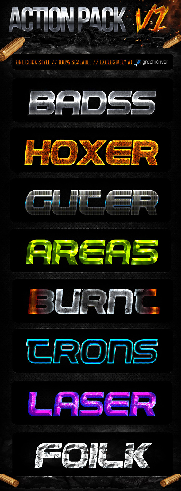 Action Style Pack V1 - Text Effects Styles