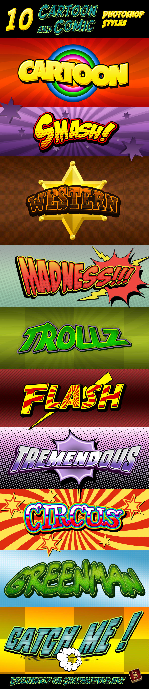 Cartoon and Comic Book Styles - Text Effects Styles