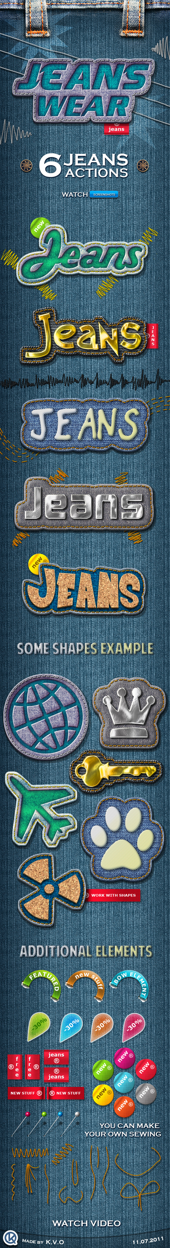 Jeans Stripe Actions - Text Effects Actions