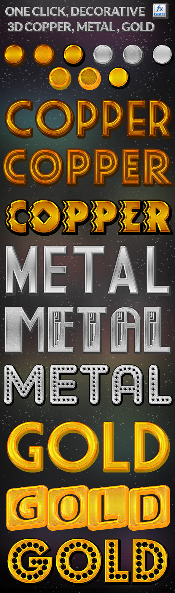 3D Decorative Copper, Metal, Gold  - Text Effects Styles