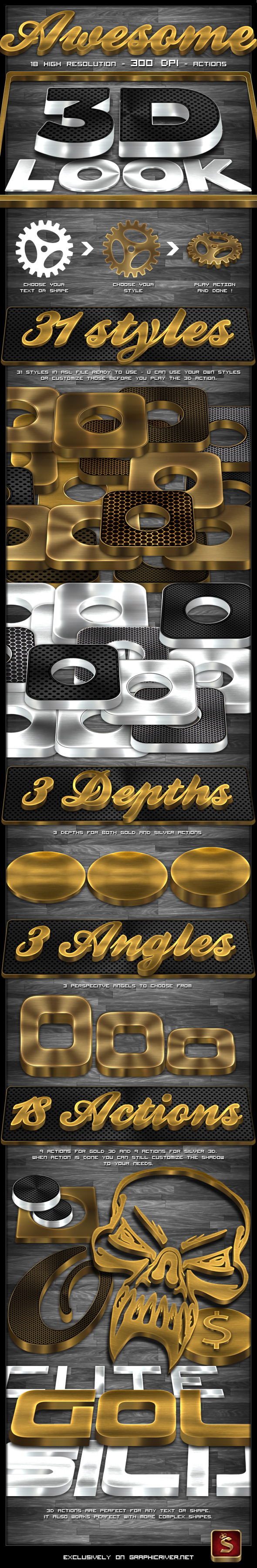 3D Gold And Silver Generator - Text Effects Actions