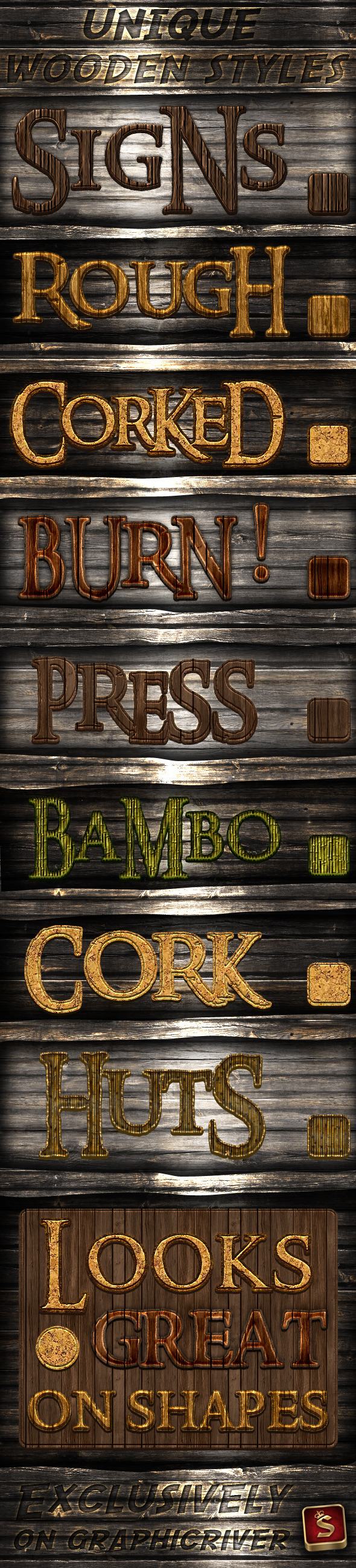 Wood Photoshop Styles - Text Effects Styles