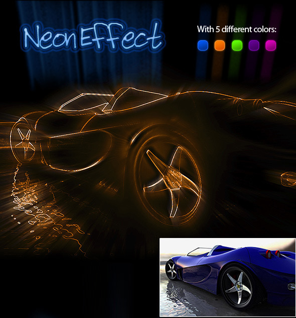 Neon Effect Photoshop Action - Photo Effects Actions