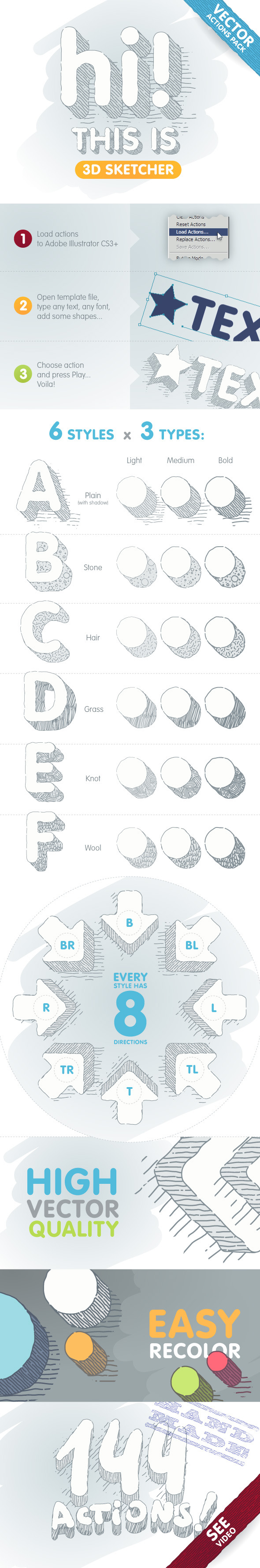 3D Sketcher - Vector Actions Pack - Actions Illustrator
