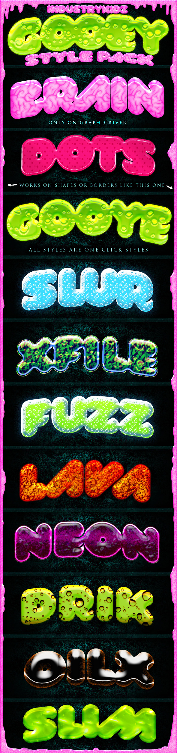 Slime Gooey Photoshop Layer Styles  - Text Effects Styles