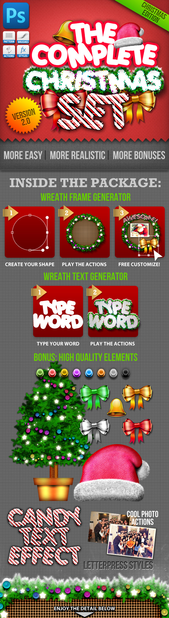 Christmas Generator Set: Actions and Text Styles - Photoshop Add-ons