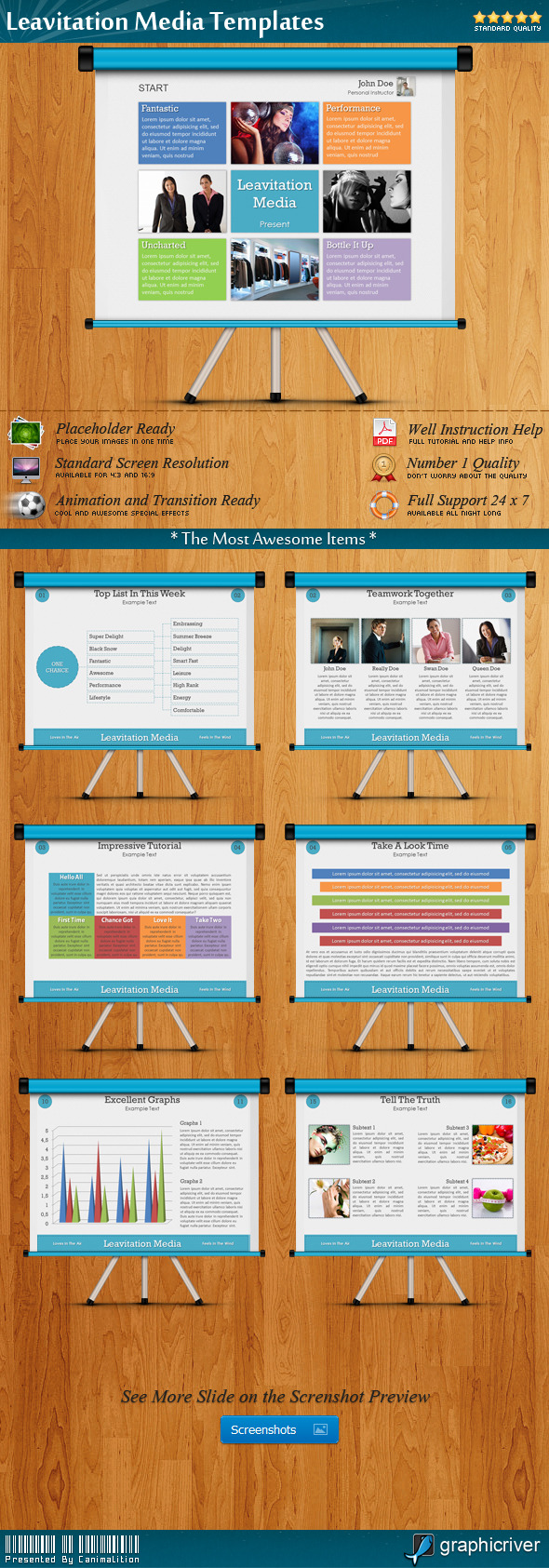 Leavitation Media Presentation Templates - Creative Powerpoint Templates