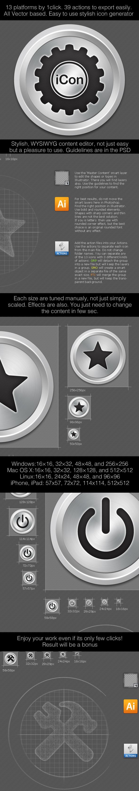 iCon13 Icon Generator for 13 Standard Sizes & OS