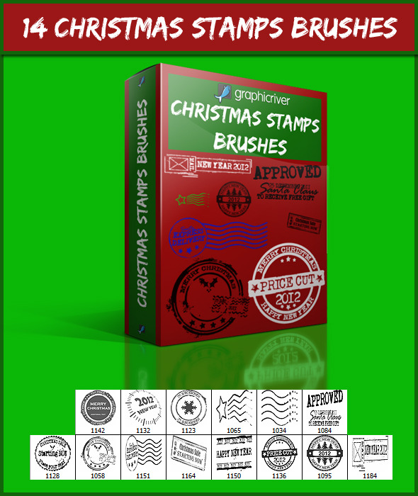 14 Christmas Stamps Brushes - Grunge Brushes