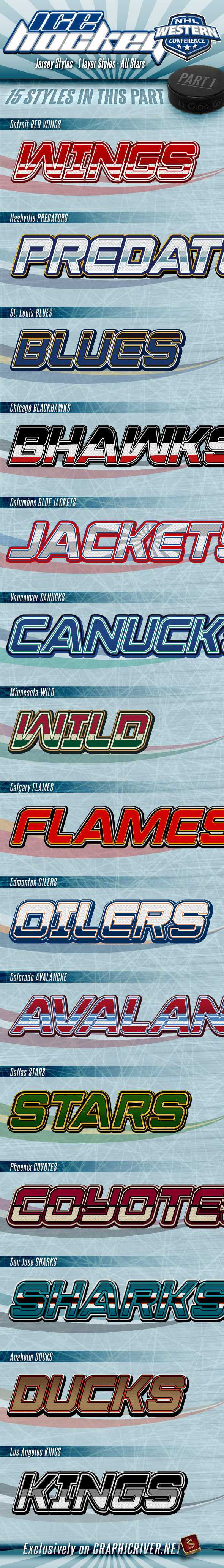 NHL Hockey Jersey Styles - Part 1 - Text Effects Styles