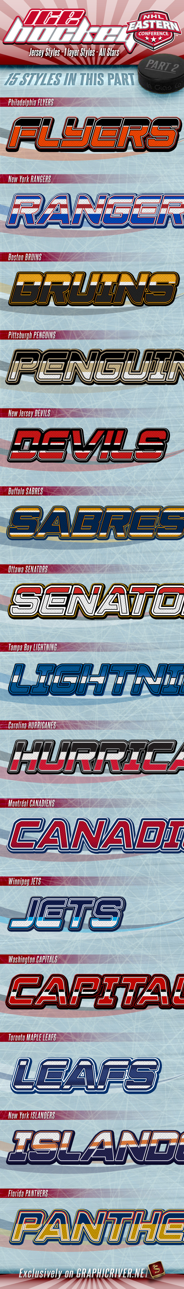 NHL Hockey Jersey Styles - Part 2 - Text Effects Styles