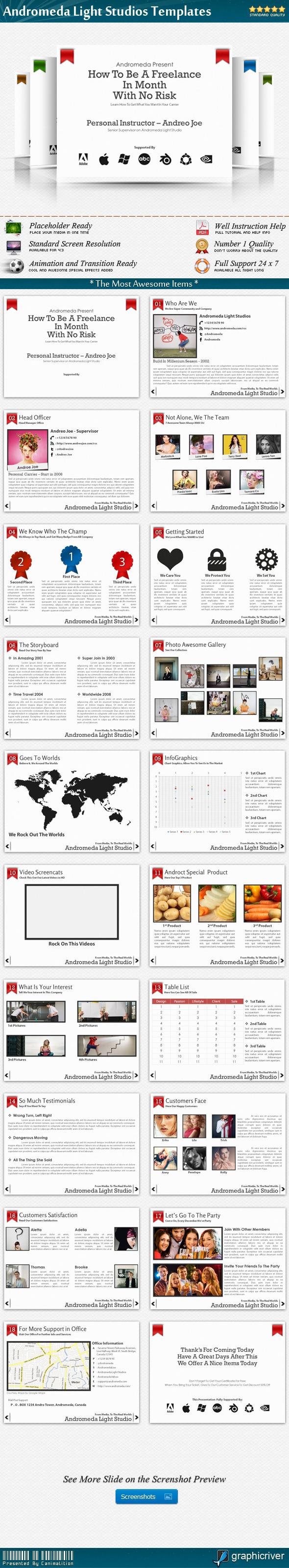Andromeda Light Studios Presentation Templates - Creative PowerPoint Templates