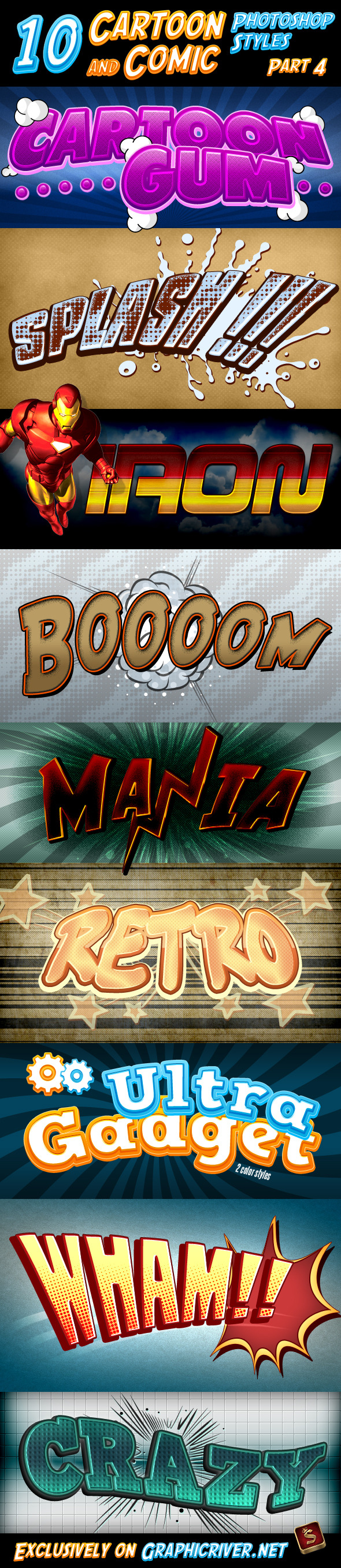 Cartoon and Comic Book Styles - Part 4 - Text Effects Styles