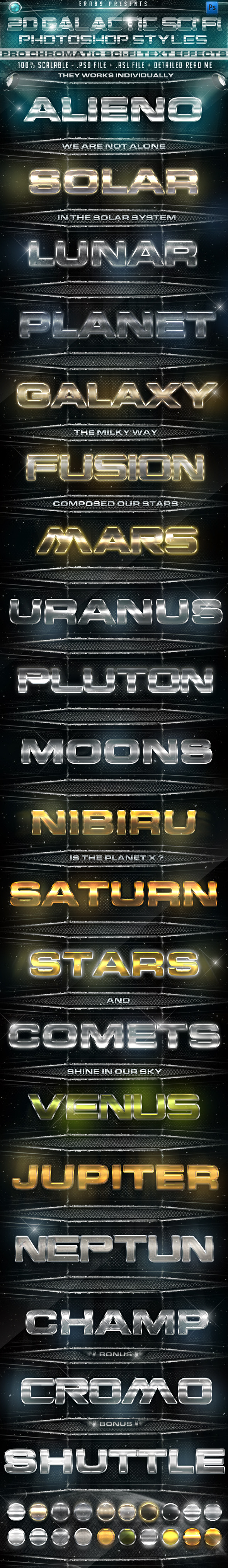 20 Galactic Sci Fi PS Styles - Text Effects Styles