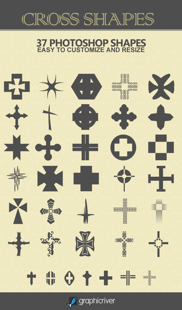 37 Cross Shapes - Symbols Shapes