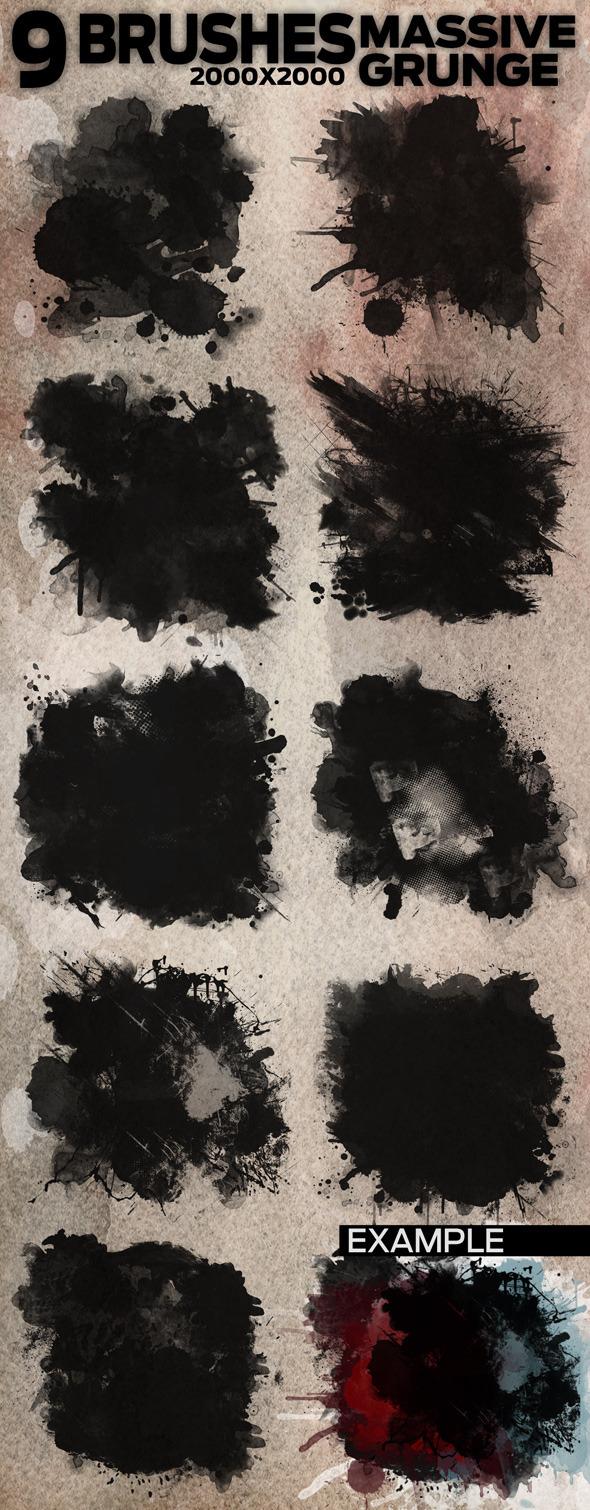 9 Massive Grunge Brushes 2000x2000