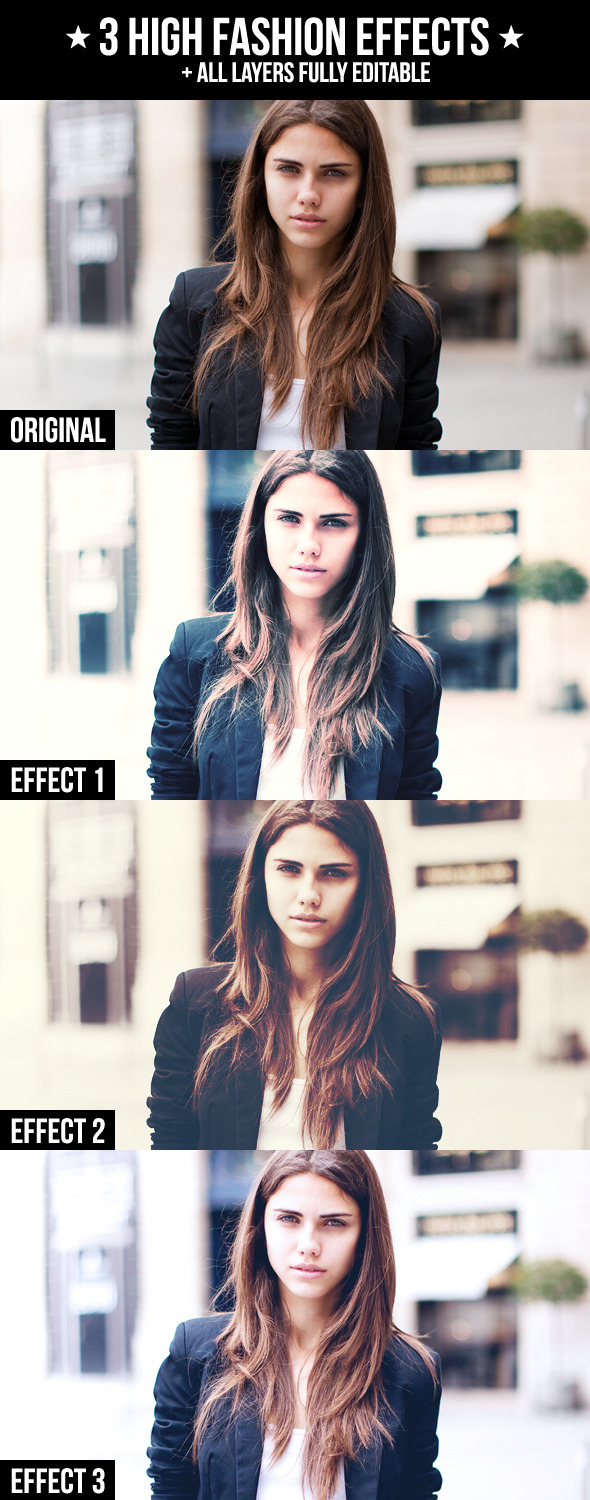 3 High Fashion Effects - Photo Effects Actions