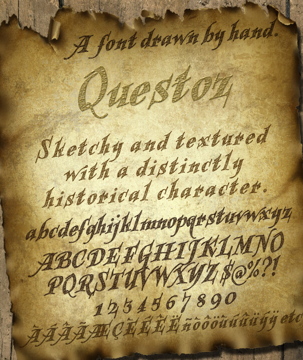 Questoz: Historical Lettering Font - Decorative Fonts