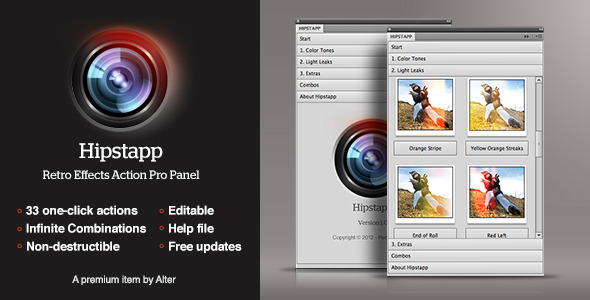Hipstapp - Retro Effects Action Pro Panel - Photo Effects Actions