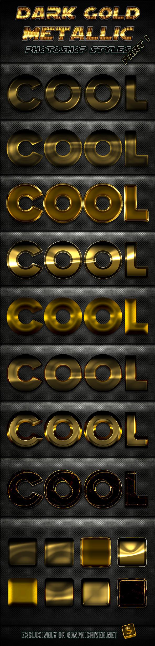 Dark Gold Metallic Photoshop Styles - Part 1 - Text Effects Styles