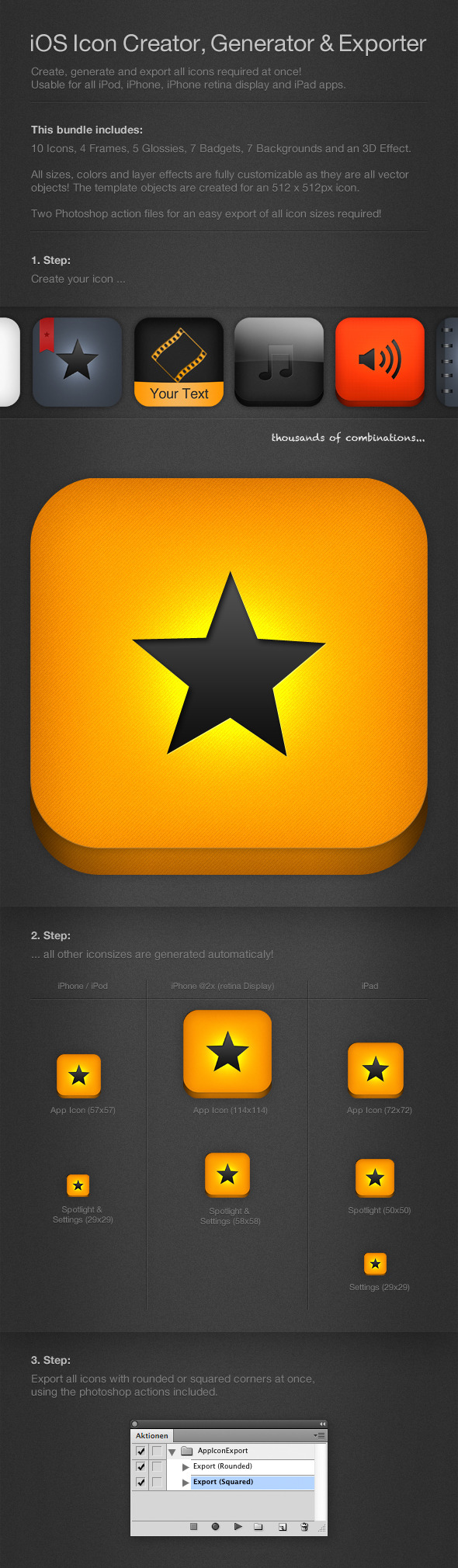 iOS Bundle: Icon Creator, Generator & Exporter - Utilities Actions