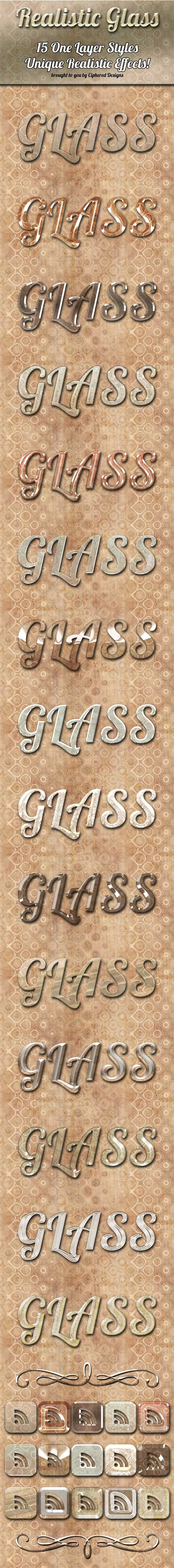Realistic Glass - Photoshop Styles - Text Effects Styles