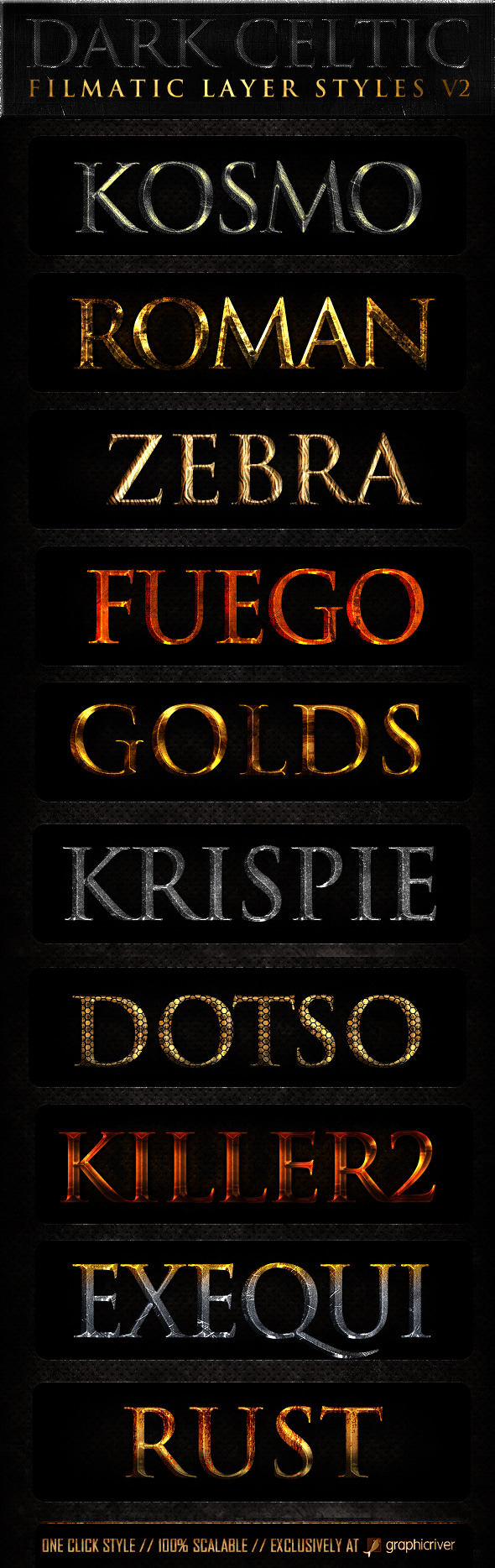 Dark Celtic Filmatic Styles v2 - Text Effects Styles