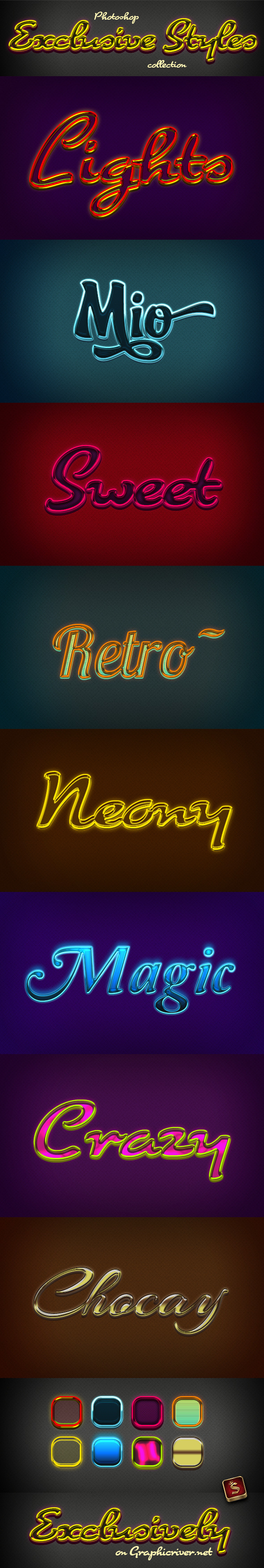 Exclusive Photoshop Styles - Text Effects Styles