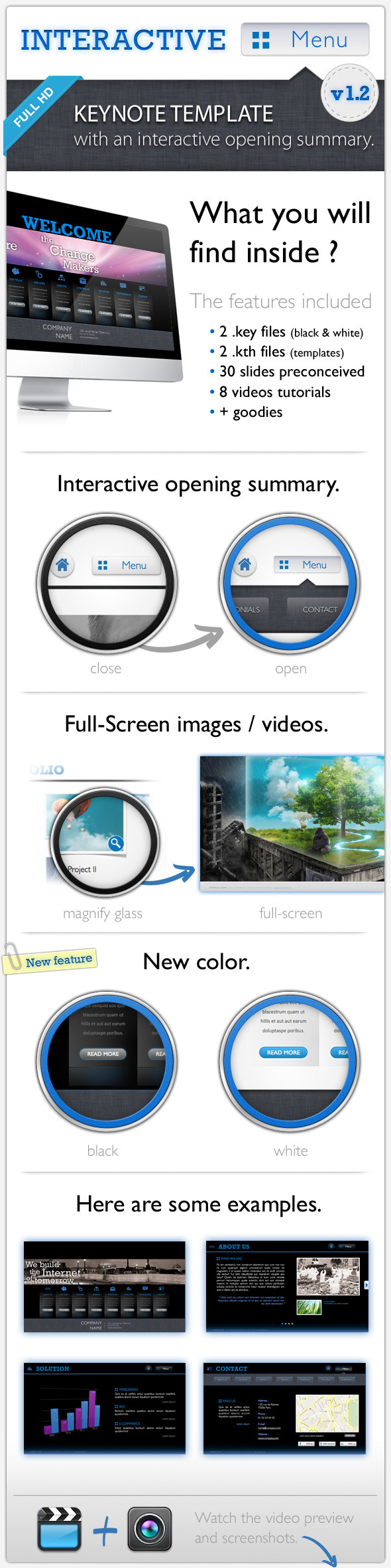 Interactive Menu - Keynote Template Full HD - Business Keynote Templates