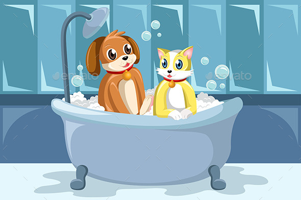 Pets washing Themselves in the Bathtub
