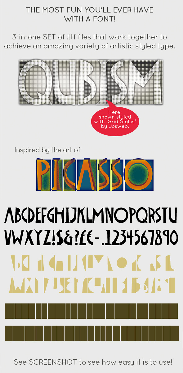 Qubism; Picasso inspired this 3-in-1 Font Set - Decorative Fonts
