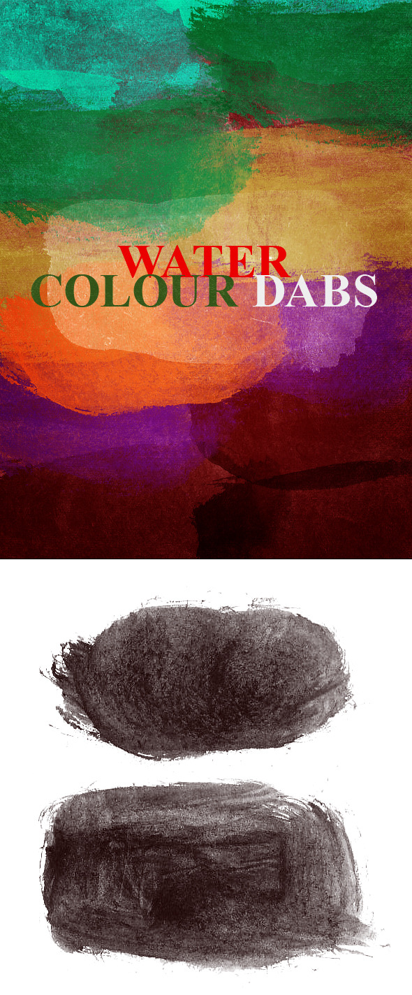 30 Watercolor Dabs Photoshop Brush