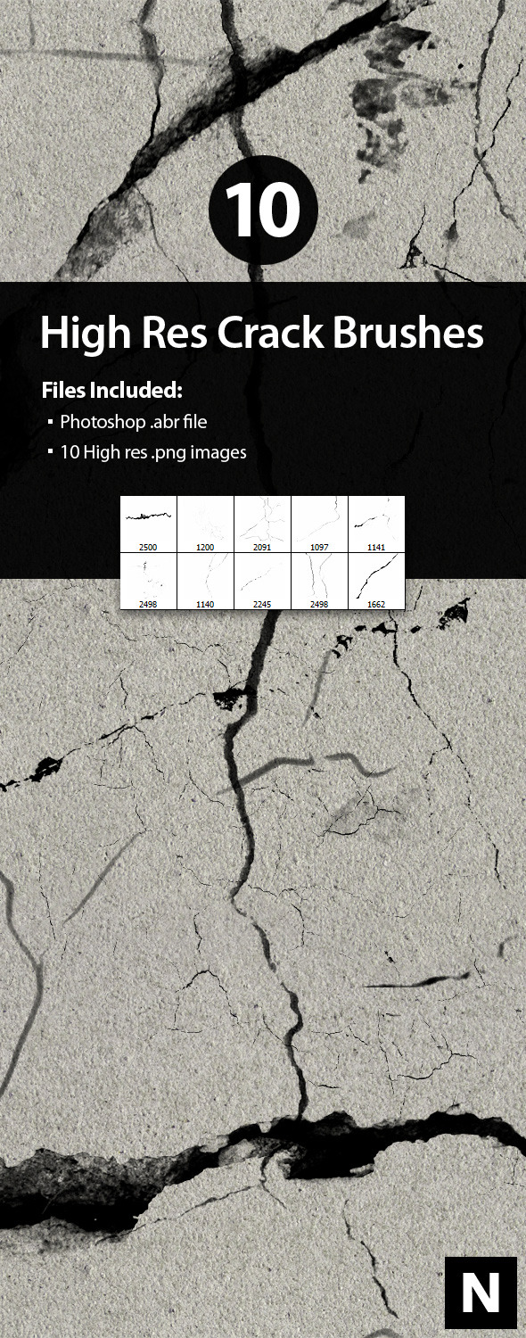10 High Res Crack Brushes for Photoshop - Grunge Brushes
