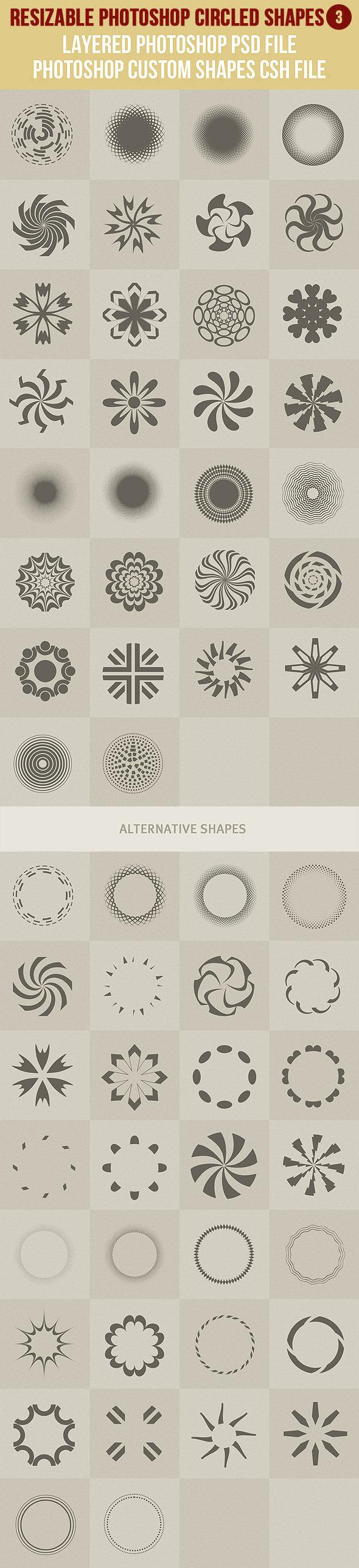 Photoshop Circled Shapes 3 - Symbols Shapes