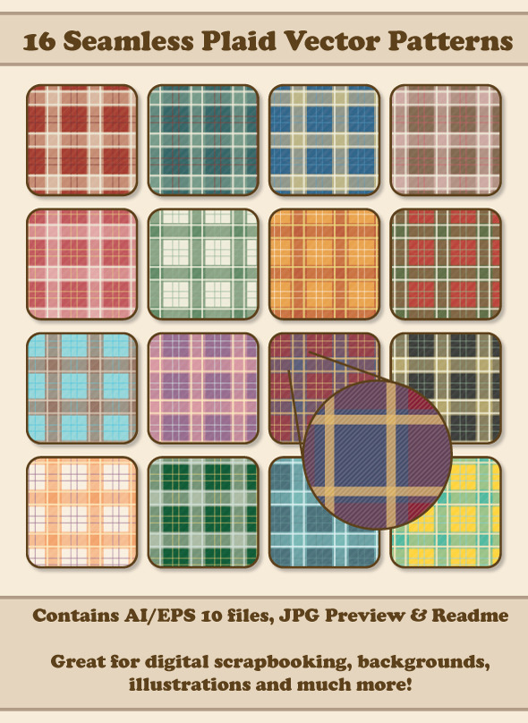 16 Seamless Plaid Vector Patterns