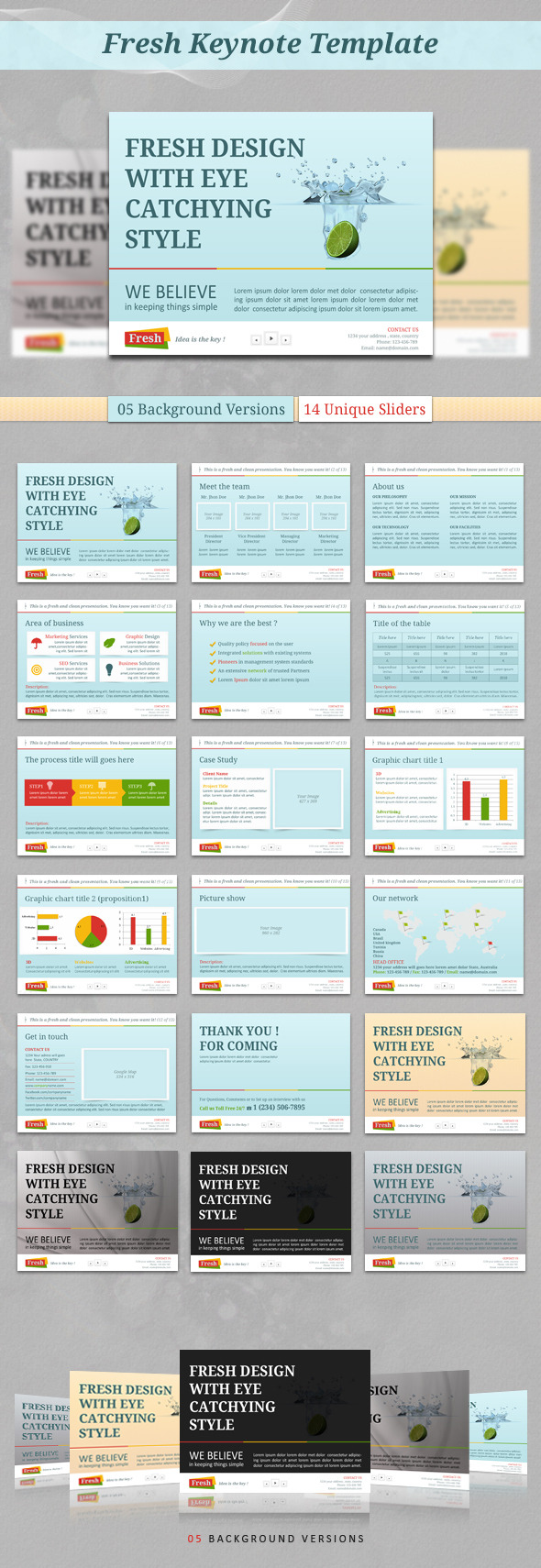 Fresh Keynote Template - Keynote Templates Presentation Templates