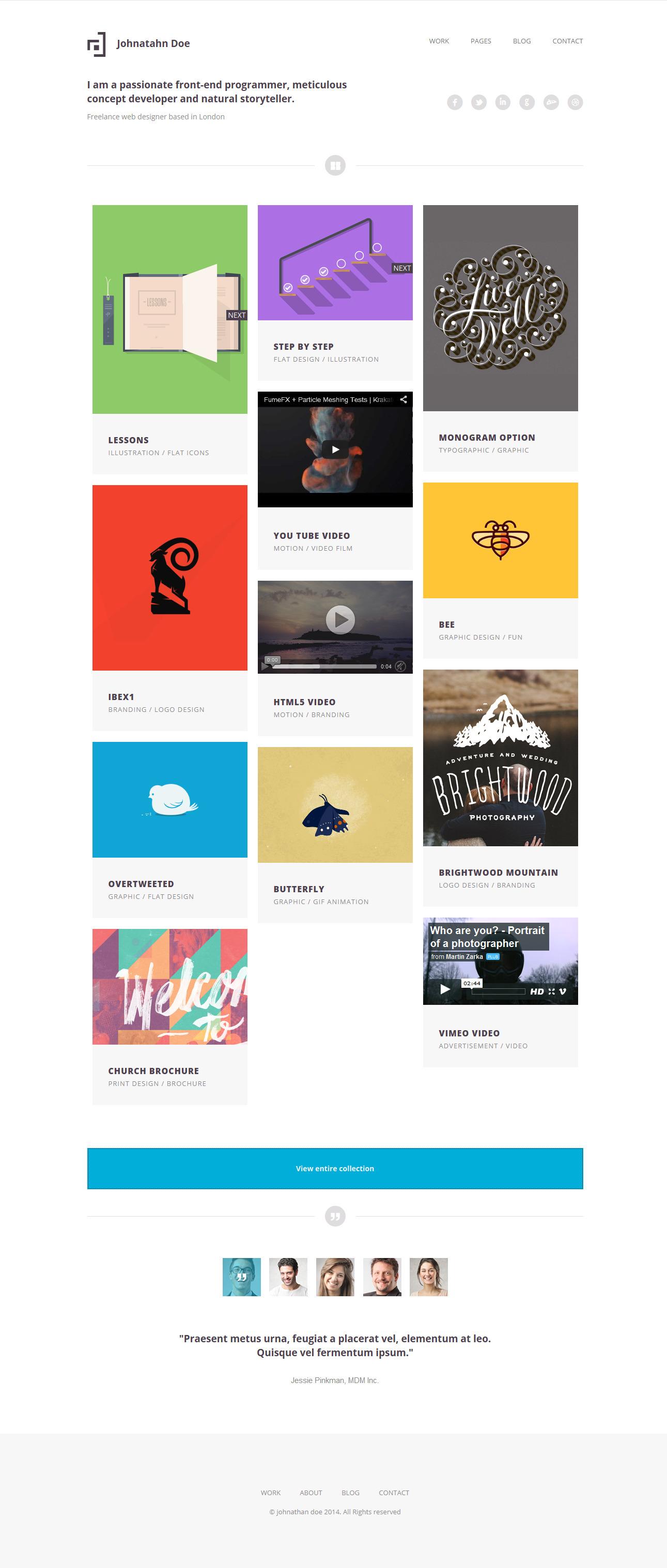 minimal folio responsive portfolio template by themeelite minimal folio responsive portfolio template