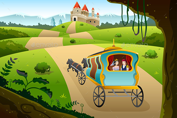 GraphicRiver Prince and Princess riding a Wagon 8790991