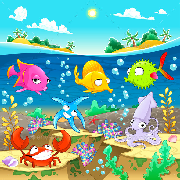 GraphicRiver Marine Family under the Sea 8791036