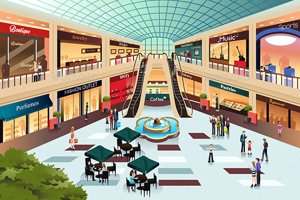 GraphicRiver Scene Inside Shopping Mall 8791202