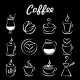 Set of Coffee Icons on Black - GraphicRiver Item for Sale